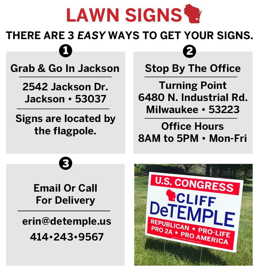 Cliff DeTemple for Congress Lawn Signs